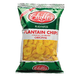 White and green bag of plantain chips