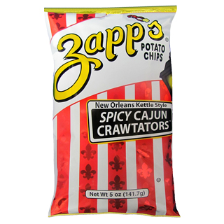 Red and yellow bag of Spicy Cajun Crawtators chips