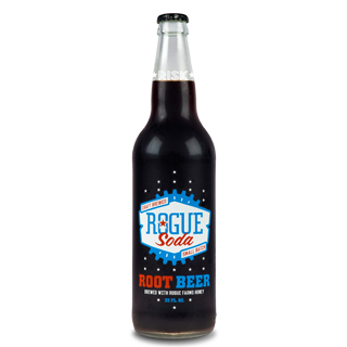 Glass bottle of root beer with a red, white and blue Rogue Soda label
