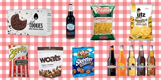 A variety of snacks are pictured on a red checkered background