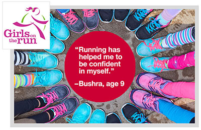 Photo of 10 girls feet in tennis shoes standing in a circle around a quote and the Girls on the Run logo.