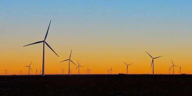 Wind turbines producing clean energy in Texas