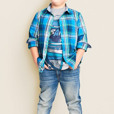 Cat and Jack Lookbook with boy wearing blue plaid shirt and jeans