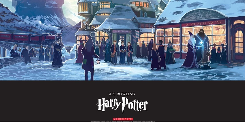 Exclusive poster: A winter scene in Hogsmeade village
