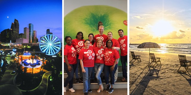 Houston skyline at night, the team volunteering, and a sunny beach