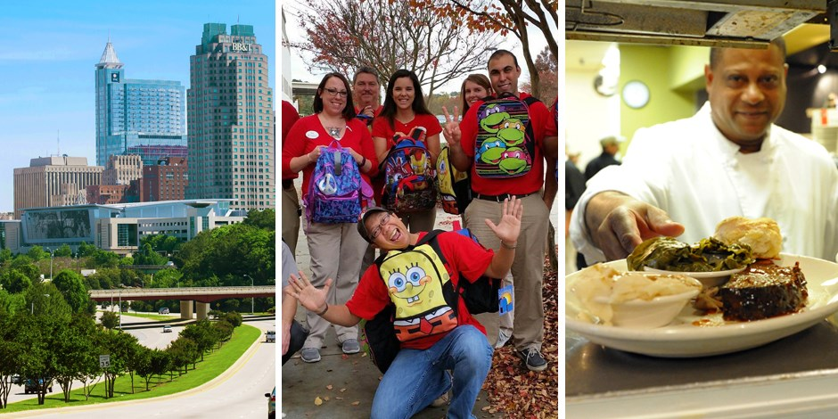 Raleigh skyline, Target team with back packs, and a chef presenting a plate of BBQ