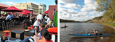 Left: Crave restaurant rooftop; Right: Kayaking on the river