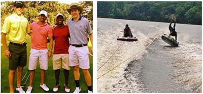Left: Brian and friends golfing; Right: Brian and friend tubing on a lake