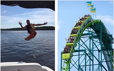 Left: Corey jumps into a lake; Right: Wild Thing roller coaster at ValleyFair
