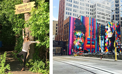 Left: Kristin at Psycho Suzi's; Right: Art on a Minneapolis building