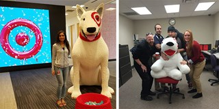 Two of our summer interns in their Target workspaces