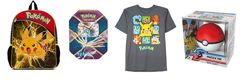 Pokemon backpack, cards, t-shirt and puzzle tin