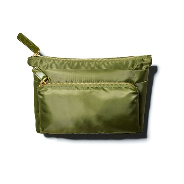 Mossy green completely organized makeup bag