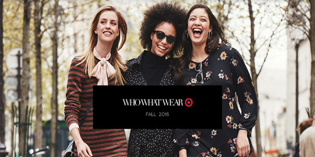 Three models wearing looks from the Who What Wear Fall 2016 collection at Target
