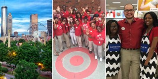 A skyline view, a photo of the Target team and a pic of Rony and two members of his team