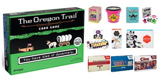 Oregon Trail the card game is pictured with a variety of other exclusive games
