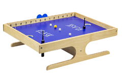 Klask is shown with a natural wood base with a blue table top