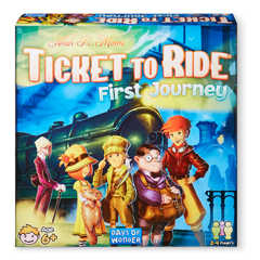 A colorful set of characters stand before a train on the Ticket to Ride First Journey box