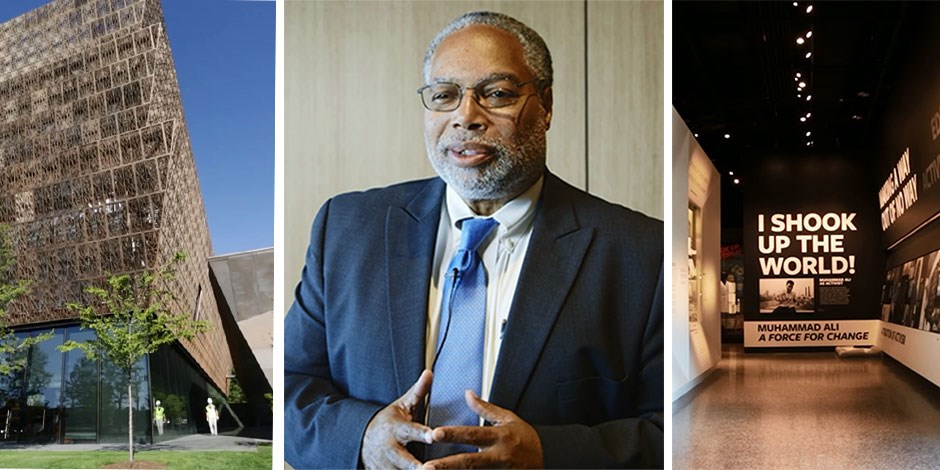 The exterior of the museum; museum director Lonnie Bunch; a display inside the musum