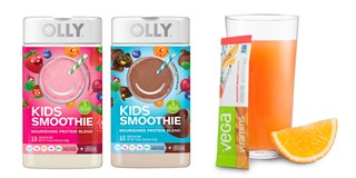 Two containers of Olly Kids Smoothie and a glass of Vega Vitamin drink with the mix packet