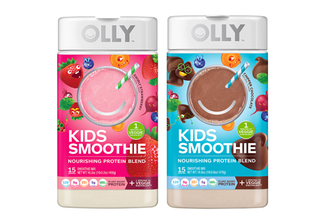 Two containers of Olly Kids Smoothie (strawberry and chocolate)
