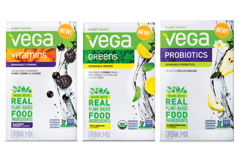 Boxes of Vega drink mixes: vitamins, greens and probiotics