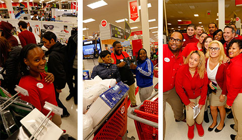 Team members have fun helping guests on Black Friday.