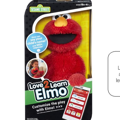 "Elmo is shown in his box, with a talk bubble reading ""Download the Love2Learn Elmo app and I'll help"