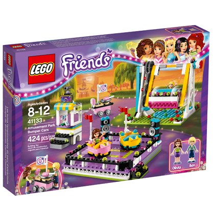 A purple LEGO box pictures all the pieces to the Amusement Park Bumper Cars set