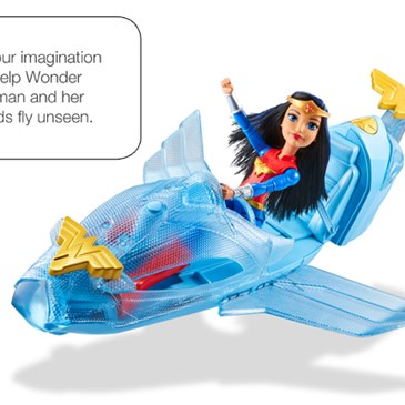 Wonder woman flies through the air in a blue jet, with a talk bubble