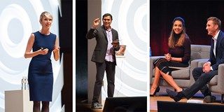 Amy Cuddy, Gopi Kallayil, Jessica Alba and Christopher Gavigan speaking onstage