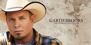 "A close-up of Garth Brooks in a cowboy hat with the text ""Garth Brooks: The Ultimate Collection"