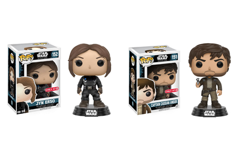 Jyn Erso and Captain Cassian Andor bobbleheads are shown in and out of their packaging