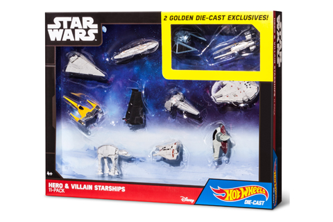 11 Hot Wheels die cast toys are shown in their Star Wars packaging.