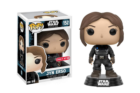 Jyn bobblehead is shown inside and out of the Star Wars packaging.