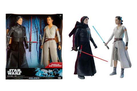 18' Kylo and Ren figures are shown inside and out of the Star Wars packaging.