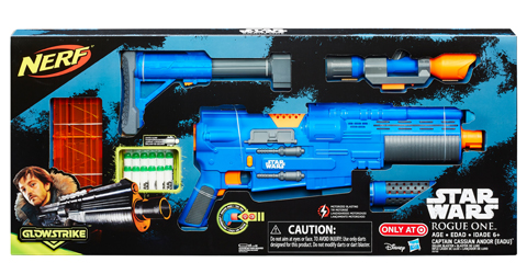 A blue Nerf blaster is shown in blue and black Star Wars packaging.