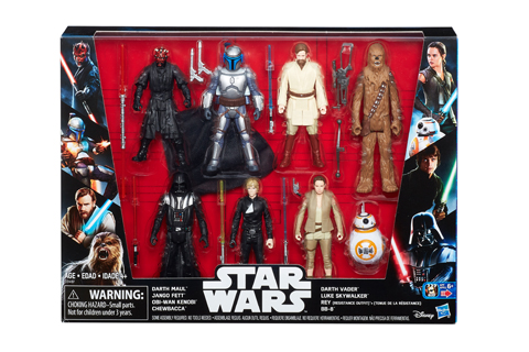 Action figures are shown inside their box set packaging