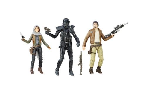 Three action figures are shown against a white background