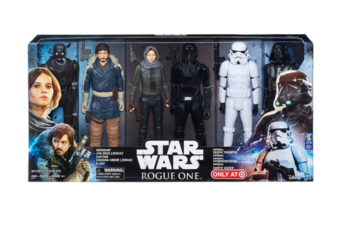 Six action figures are shown inside their box set packaging