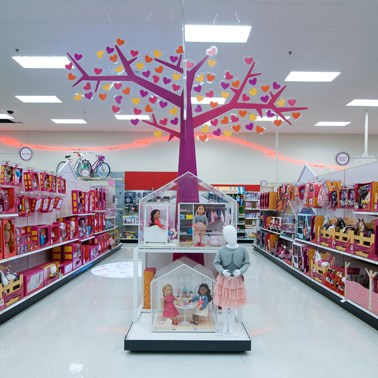 A wide-angled view of the new Our Generation display, including a giant purple tree w/heart leaves