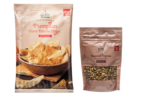 A bag of Archer Farms Pumpkin Corn Tortilla Chips and Roasted Pepitas