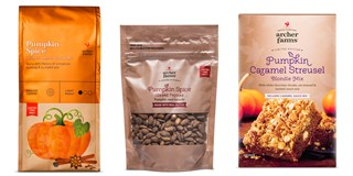 Three Archer Farms pumpkin spice products: coffee, glazed pepitas and caramel streusel blondie mix