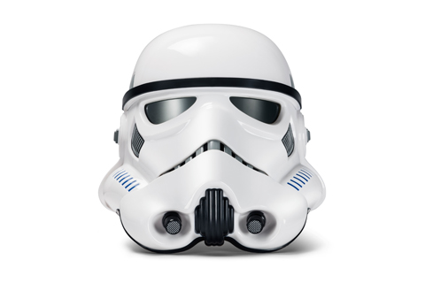 A white Hasbro Star Wars The Black Series Imperial Stormtrooper Electronic Voice Changer Helmet