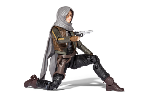 The Hasbro Star Wars Rogue One Sergeant Jyn Erso The Black Series Action Figure crouches with weapon drawn