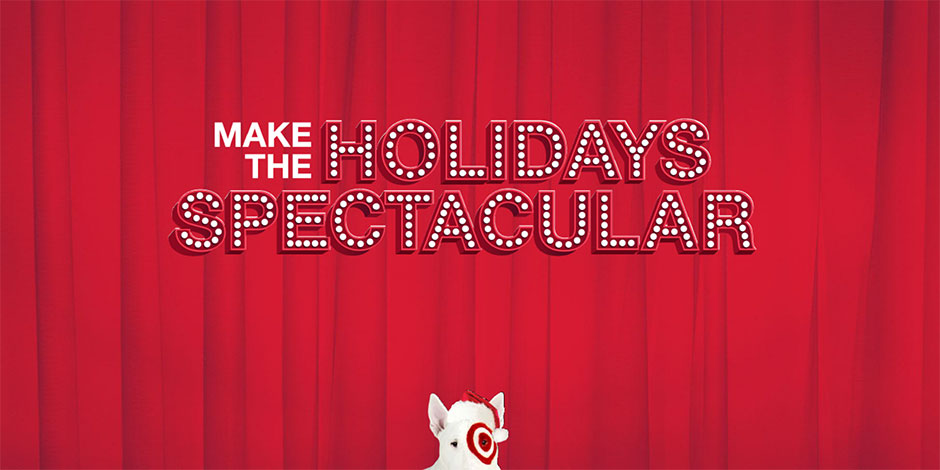 Bullseye the dog in front of a red curtain and text Make the Holidays Spectacular