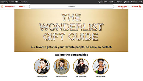 The Wonderlist home screen with four personality types to explore