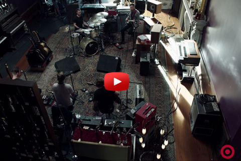 A birds-eye view of the band's set-up