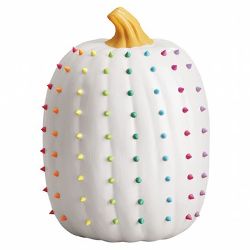 white colorful studded pumpkin