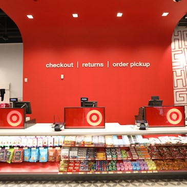 checkout counter at the new Tribeca flex-format store in Manhattan